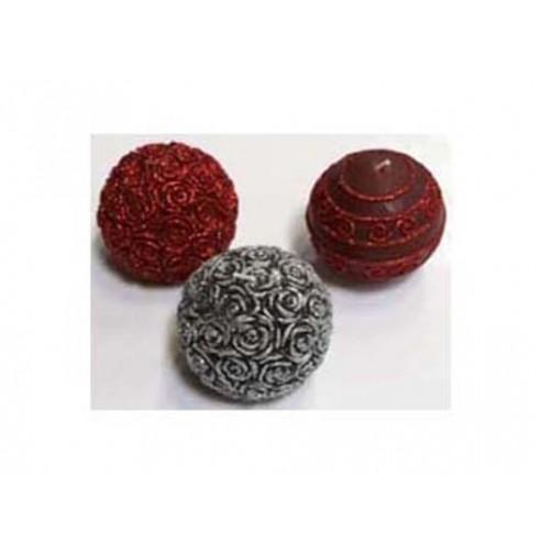 Vela Bola cera plateada rosas 8cm