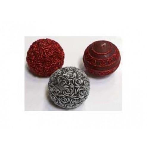 Vela Bola cera roja rosas 8cm
