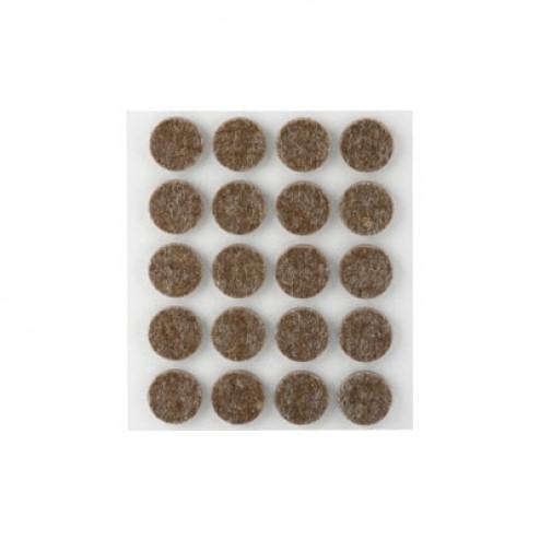 Fieltro de lana adhesivo Ø 17mm. Inofix marrón