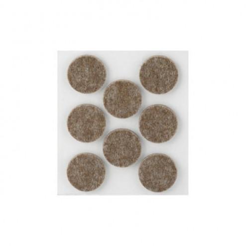 Fieltro de lana adhesivo Ø 27mm. Inofix marrón