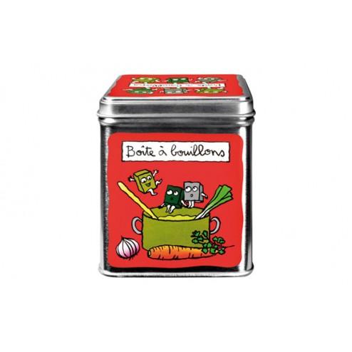 Caja metálica de cocina decorada en color Roja