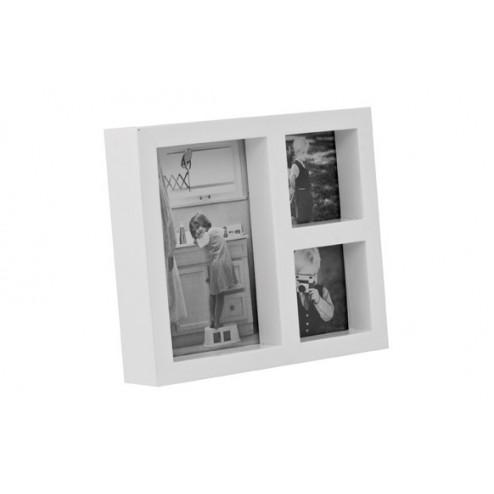 Marco Kassel Blanco y Madera para 3 fotos 14x16cm Balvi