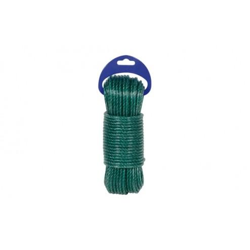 Cuerda Polietileno Cableada Plastificada 4 C Diam.5mm 25m Verde