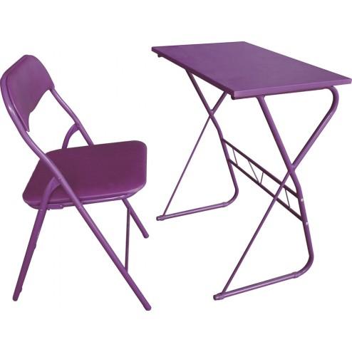 Mesa y silla escolar morado