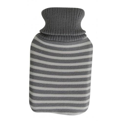 Bolsa de agua caliente con forro de lana a rayas 1l.