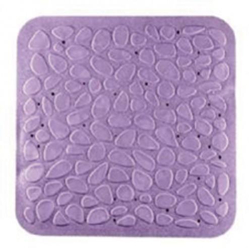 Alfombra baño caucho piedras 54x54 lila