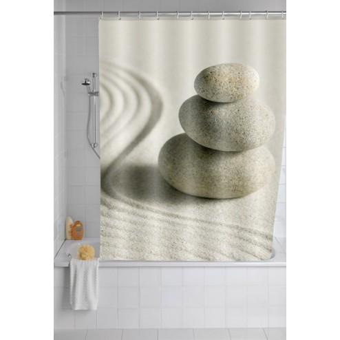 Cortina de baño piedras y arena