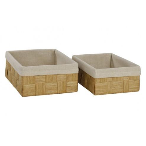 Set de 2 cestas rectangulares entrelazadas