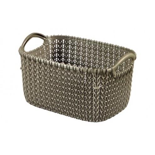 Cesta rectangular Knit XS 3L Marron Topo