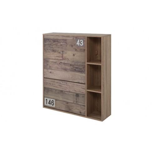 Zapatero efecto madera con cajón 100x90x24cm Closet Norte