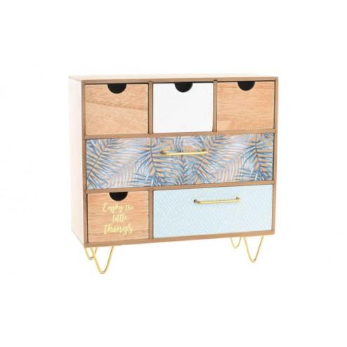 Joyero de madera y metal con 6 cajones 25,5x14x30,5cm