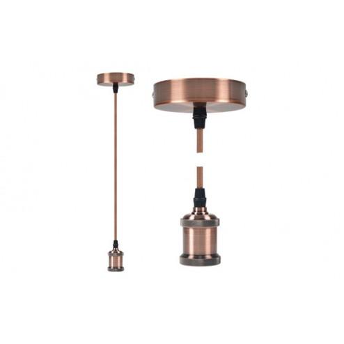Lampara Colgante Diam. 9,84x4,4 cm + 88cm de Cable Edm Bronce E27 60W