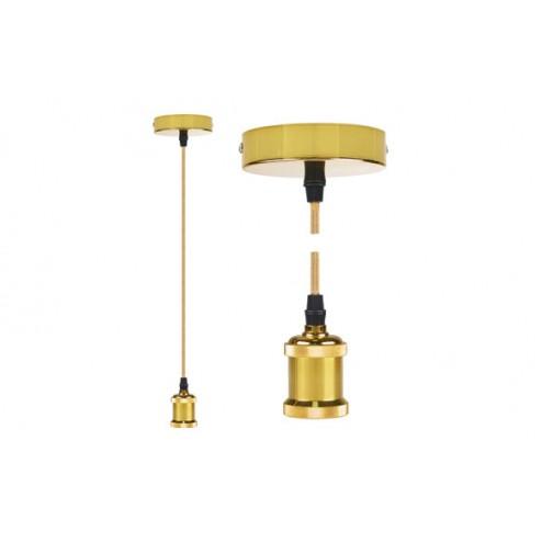 Lampara Colgante Diam. 9,84x4,4 cm + 88cm de Cable Edm Oro Brillante E27 60W