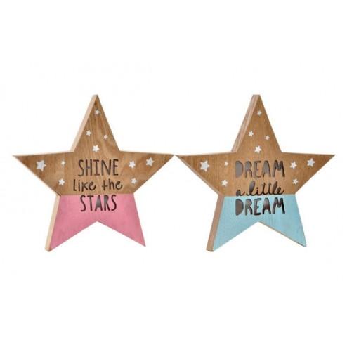 Estrellas de madera MDF con leds en colores surtidos 29x3,5x28cm