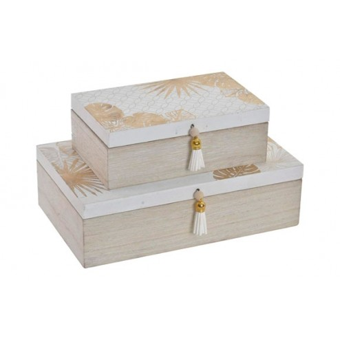 Cajas joyero de madera Item Hojas blancas 25x15x7cm 18x11x6cm