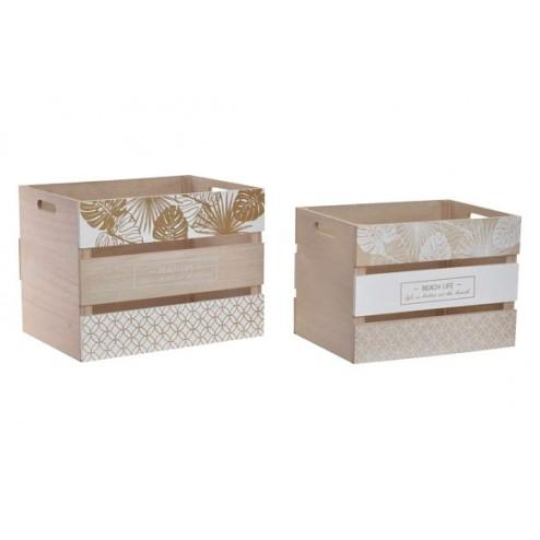Cajas de madera blanca Hojas Item 40x30x30cm y 36x26x26cm