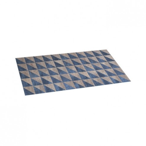 Alfombra vinílica Croma 45X75cm Wood Geom Blue