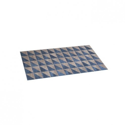 Alfombra vinílica Croma 50x110cm Wood Geom Blue