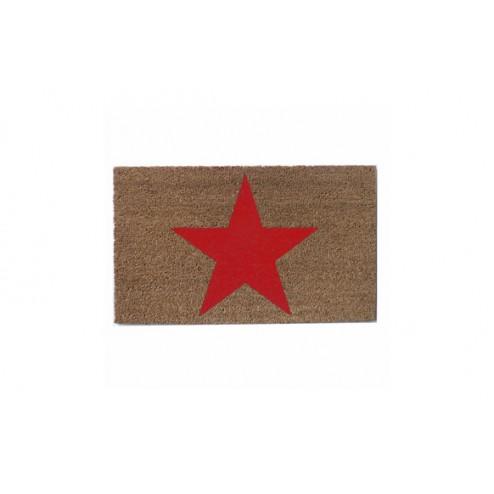 Felpudo de coco natural estrella roja
