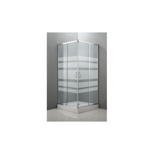 Mampara de ducha angular cristal serigrafiado