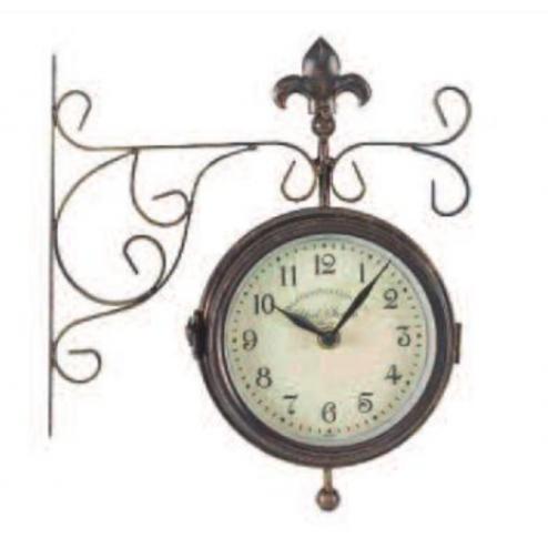 Reloj de doble cara decorativo York Station con termテウmetro