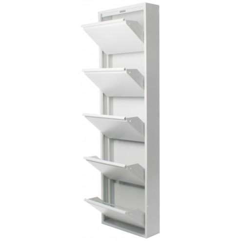 Zapatero de 5 puertas Duett en metal blanco