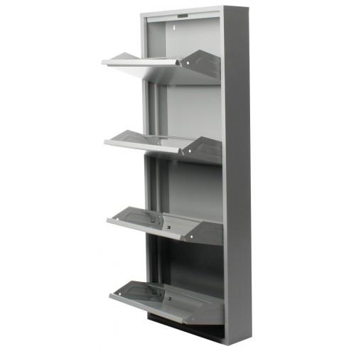 Zapatero de 4 puertas Duett en metal gris