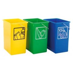 Contenedor de reciclaje azul para papel y cartテウn