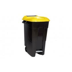 Contenedor Negro con Pedal Tayg 120 L-Tapa Amarilla