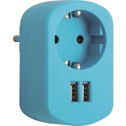 Adaptador con doble usb azul