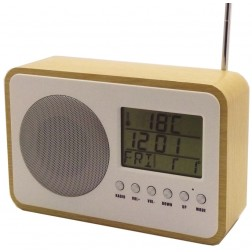 Radio despertador digital color madera