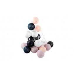 Guirnalda decorativa 20 bolas a pilas blanca/gris 3m