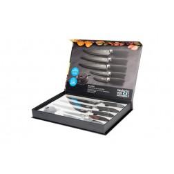 Cuchillo cocina (5 piezas)+ afilador  negro lms23bs10