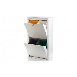 Contenedor Basura Ecologico Acero Lacado Cubek Don Hierro Blanco 4 Compartimentos