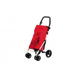 Carro de compra 4 ruedas giratorias Carlett rojo