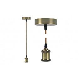 Lampara Colgante Diam. 9,84x4,4 cm + 88cm de Cable Edm Oro Nuevo E27 60W