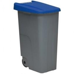 Contenedor Basura Gris Eco Denox 110L Tapa Azul