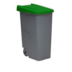 Contenedor Basura Gris Eco Denox 110L Tapa Verde