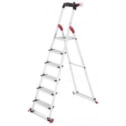 Escalera de aluminio Hailo peldaño ancho 6 peldaños
